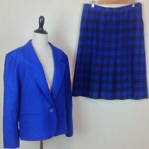 Vtg Pendleton Wool Skirt Suit Blazer Set Womens 18W 20W Royal Blue