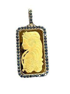 Yellow 14kt Gold 1 oz Lady Fortuna Bar .9999 Treated Blue Diamond Pendant