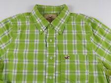 Hollister Mens Cotton Long Sleeve Button Down Lime Green Plaid Dress Shirt Large
