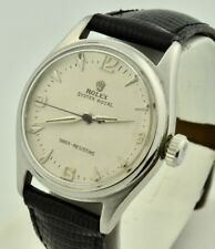 Men's Vintage 1947 Rolex Oyster Royal 4444 Stainless White Guilloche Dial Superb