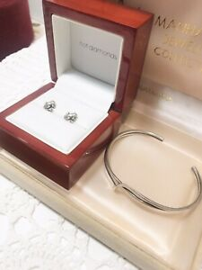 Vintage Sterling Silver Frog Earrings & Sterling Bangle