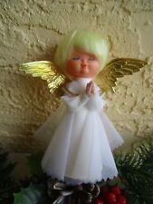 Vintage Angel Plastic Head Nylon Dress &Dresden Wings Xmas Tree Topper/Ornament