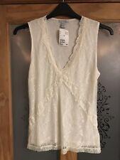 Women's/Ladies H & M Vest Top, UK M, Lace Pattern, Cream/Ivory, BNWT, Twin Layer