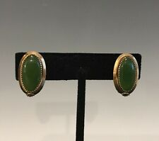 A Pair Of Vintage Nephrite Green Jade Cabochon Clip On Earrings