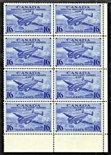 CANADA AIR MAIL SPECIAL DELIVERY #CE1 16c LR CORNER BLOCK/8, 1942, VF, MNH
