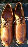 RARE Walk-over Vintage Men's Hand Made Natural Full Grain Leather Oxford lace up