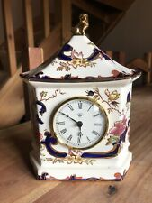 MASONS IRONSTONE BLUE MANTEL CLOCK MANDALAY LION TOP