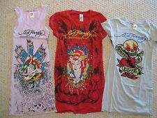 Ed Hardy RHINESTONE t-shirts / tunic Set of 3 BLING!! Size Small Women