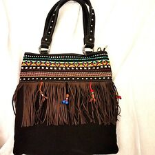d0c3cc6671 Montana West Concealed Gun Black Canvas Beaded Fringe Hobo Handbag NWT