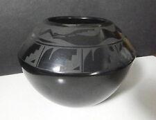 SANTA CLARA Pueblo Black Blackware Pottery Vase, Signed URSULITA NARANJO