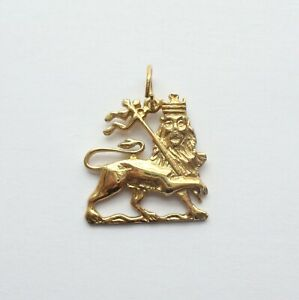 Lion Pendant Charm Gold 9ct Ethiopian Symbol Flag Jewellery