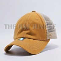 c09f04965ea32 Plain Pigment Dyed Unstructured Dad Hat Trucker Buckle Baseball Cap   Mustard