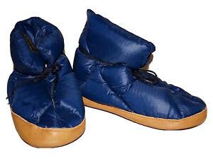 Vintage EDDIE BAUER Navy Blue Nylon GOOSE DOWN Puffer Bootie Slippers MEDIUM