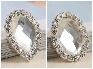 10 Crystal Rhinestone Cabochons Button Flatback Teardrop Oval Wedding Invitation