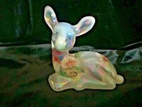 Fenton Art Glass Hand Painted Lenton Rose Opalescent Fawn Deer Figurine