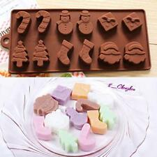 1xSilicone Christmas Chocolate Mould Ice Cube Tray Soap Cake Cookie Molds Decor