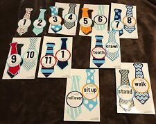 18 Baby Boy Gents Ties Milestone Stickers 12 Monthly Firsts Photo Picture Props