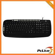 NEW Shintaro USB Multimedia Keyboard Spill Proof 21 Hotkeys for Windows PC Black