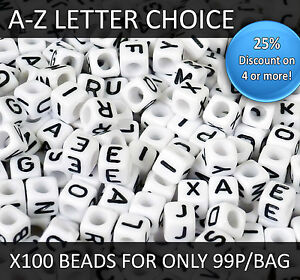 100 White Alphabet Cube Beads, 6mm Letters A-Z