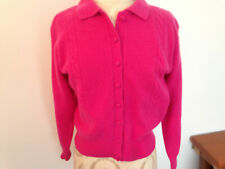 LAUREN COLE Pink Lambswool Blend Knit Womens Long Sleeve Button Sweater Size P