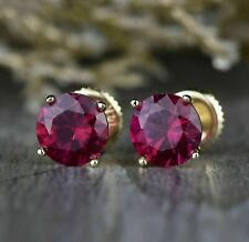 1.25Ct Round Red Ruby 14k Yellow Gold Over Solitaire Women's Stud Earrings