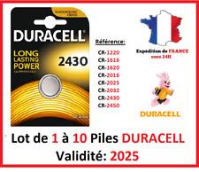 Piles CR-2430  DURACELL / Autre modèle: CR-1616-1220-1620-2016-2025-2032-2450