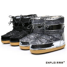 fd536232c71 Ankle Snow Women's Boots Glitter Lace Up Fashion Kids Moon Boots Snowboard  Shoes