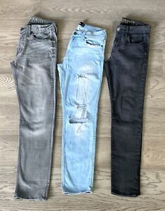 Lot of 3 Pairs Mens Jeans 30 x 32 American Eagle & Hollister Original Straight +