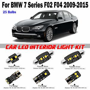25 Bulbs Deluxe White LED Interior Light Kit For BMW 7 Series F02 F04 2009-2015