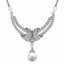 Van Kempen Simulated Pearl Crescent Necklace with Swarovski Crystals in Silver