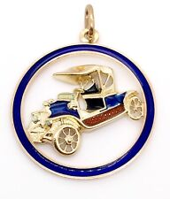 "Car Painted Enamel Pendant 1.18"" 18k Solid Yellow Gold Antique"