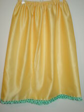 "Yellow satin half slip aqua blue brown polka dot trim 26""-52"" waist sissy-XXL"