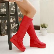 Womens Winter warm Wedge Heels Round toe Snow Knee High Boots 4 color