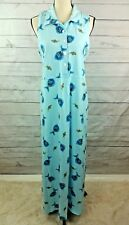 Zip Code Tank Dress Large Blue Fish Cotton Comfy Beach Sleeveless Maxi vintage
