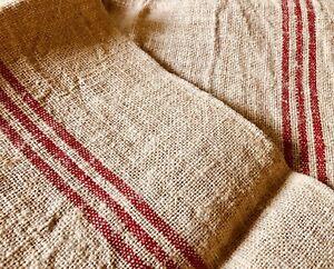Antique Vtg. Rustic Farm French Linen Hemp Fabric Towel ~ Red Stripe ~
