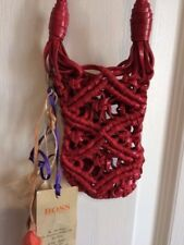 Hugo Boss Very Small Crossbody Pouch Purse Woman Sling Netting Red Leather Bag