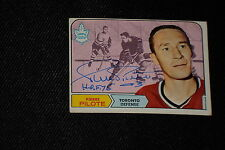 HOF PIERRE PILOTE 1968-69 TOPPS SIGNED AUTOGRAPHED CARD #124 LEAFS