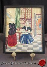 Antique Silk Needlework Dutch Women Interior Scene Making Apple Pie