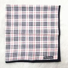 BurberryScarf Silk Handkerchief Neckscarf Check Plaid White- Blue Border Bandana