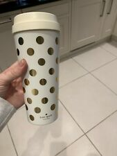 Kate Spade Tumbler Flasks Coffee Tea Reusable White Gold Spots Confetti Dot