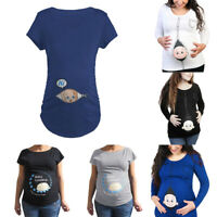 Pregnant Lady Women's Maternity Baby Loading Feet Funny Print T-shirt Tops