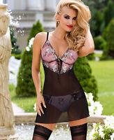 Nuisette sexy semi transparente femme Noir Rose lingerie Natali ROZA 36 38 40 42