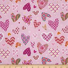 By 1/2 Yard Free Spirit Valentine Fabric ~ Haute Girls Dena Designs Hearts Pink