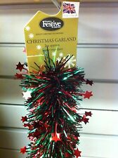 Christmas Tinsel - Dark Red & Green with Red Star 2x2m NEW Made in UK