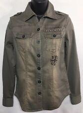 Harley Davidson Women's Cotton Shirt LightJacket Green Gray Size XS 🌷