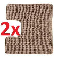 2x IKEA TOFTBO Anti-Slip Microfibre Pedestal Mat Bathroom Toilet Rug 55x60 Beige