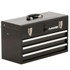 "Portable Tool Box 3 Drawer Work Chest Tray Black 20"" Metal Husky Lockable Home"