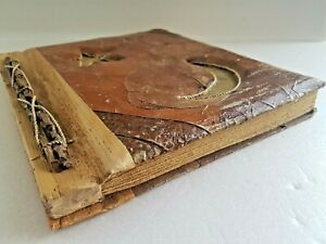 Vintage Wooden & Leaf Nature Magic Witch Recyclable Handmade Photo Album 40 Pics