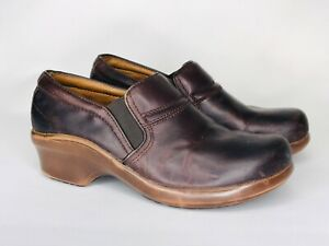 Ariat Brown Leather Shoes Women's Size 7.5 B Slip On Comfort Work Clogs