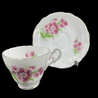 Vintage Royal Ascot Bone China Tea Cup & Saucer Pink Floral Pattern England
